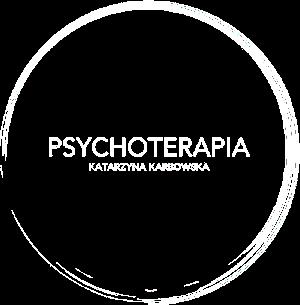 logo strony, napis karbowska psychoterapia w kole